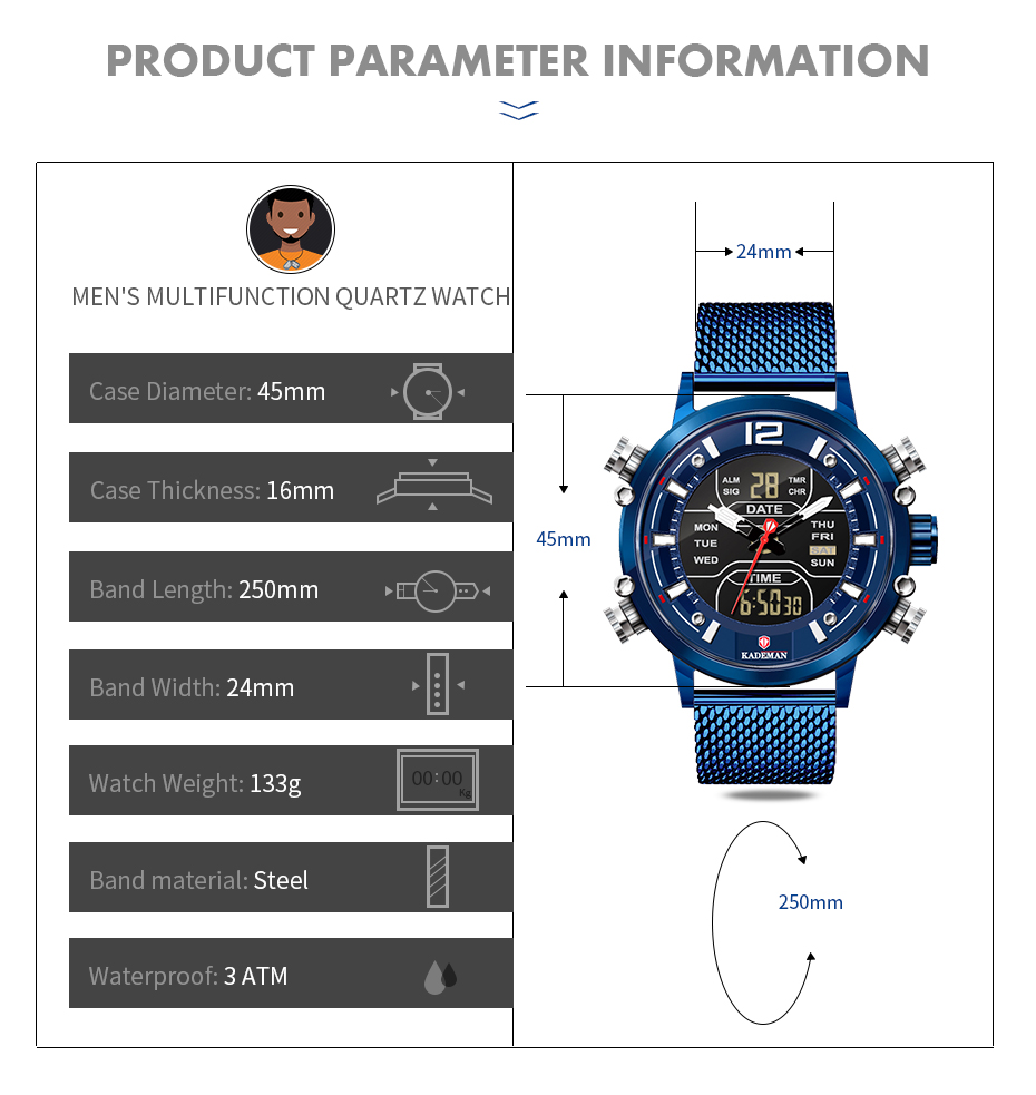 2020 Luxury Mens Watches KADEMAN Famous Brand TOP Quality Sport Watch LED Digital Quartz Wristwatch Fashion Business Male Clocks
