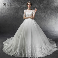 Optcely See through Scoop Neck Short Sleeve Retro Ball Gown Wedding Dress 2019 Appliques Beading Sweep Train Gown Robe De Soiree