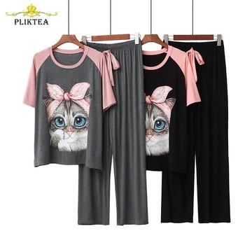 Kawaii Casual Cartoon Print Women's 2 Piece Set Modal Homewear Loose Cute Atoff Home Cloth Suit Female Pajamas Sleepwear - discount item  40% OFF Women's Sleep & Lounge