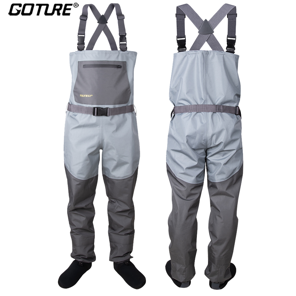 Goture Bootfoot Chest Fishing Waders Breathable 100% Waterproof Wader for Fly Fishing Hunting S M L XL XXL Fishing Accessories