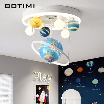 BOTIMI Globe Kids LED Ceiling Lights For Boys And Girls Room Childern Cartoon Round Surface Mounted Bedroom Lighting Fixtures 1