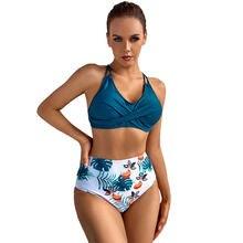 Swimsuit Women Swimwear Print Bikinis Sexy Women Swimsuit High Waist bathing suit Beach wear 2 Piece Bathing Criss Cross