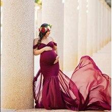 Fotografia ciążowa rekwizyty długa ciąża sukienka na sesja zdjęciowa Off ramię sukienki ciążowe dla kobiet Maxi suknia macierzyńska