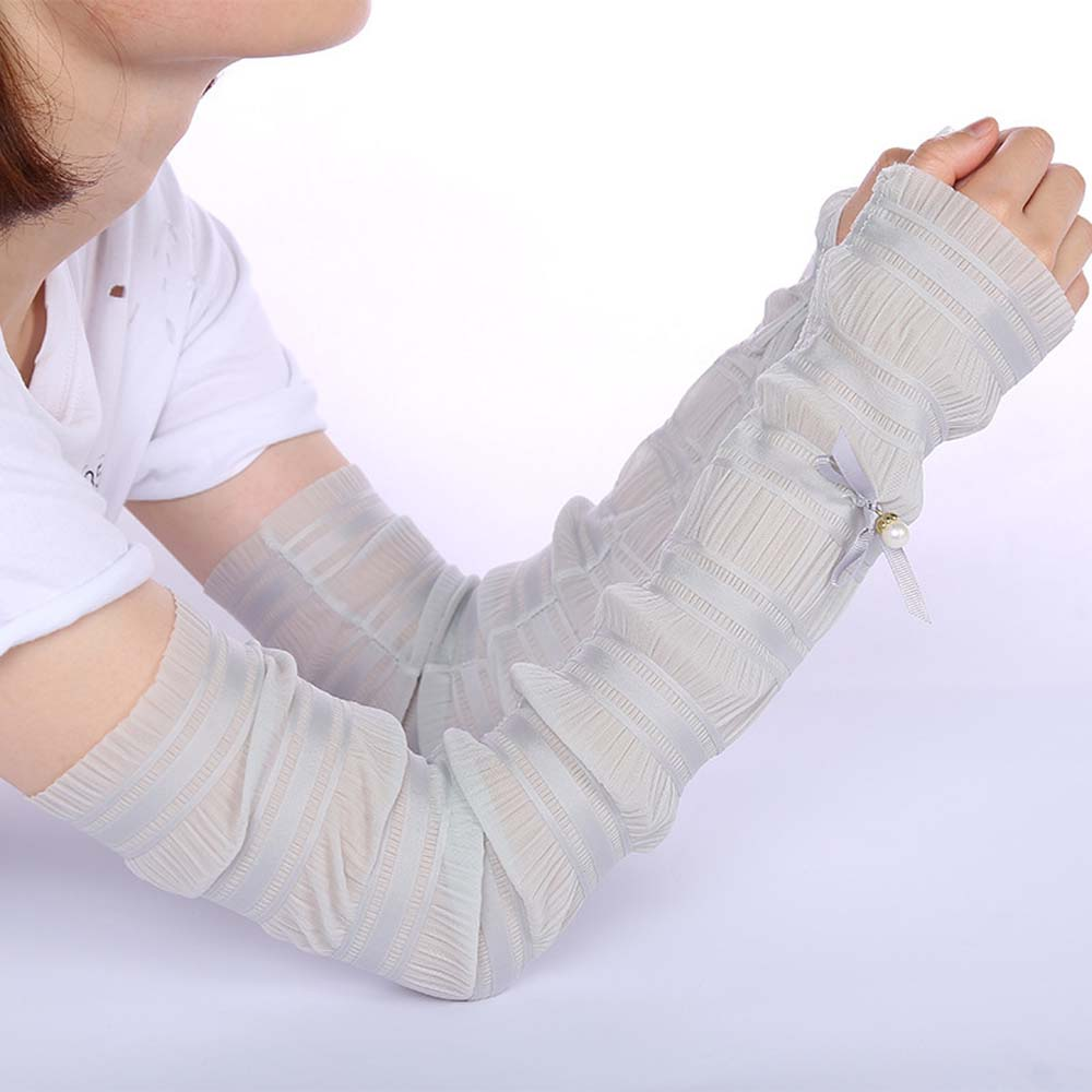 Cute Pearl Lace Cooling Hand Socks Women Ice Silk Protect Arm Sleeves Sun Protection