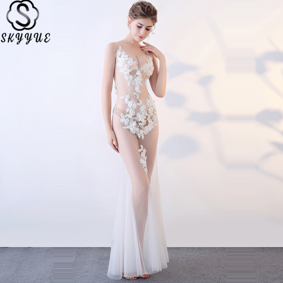 Skkyue Sleeveless Evening Gown Backless Floor Length Robe Soiree Perspective Dresses V-Neck Lace Flowers Formal Dress 2019 H018