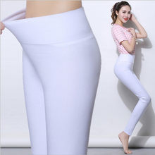 Calça legging feminina branca, tamanhos grandes, de S-6XL, elástica, cintura alta, push up, sexy