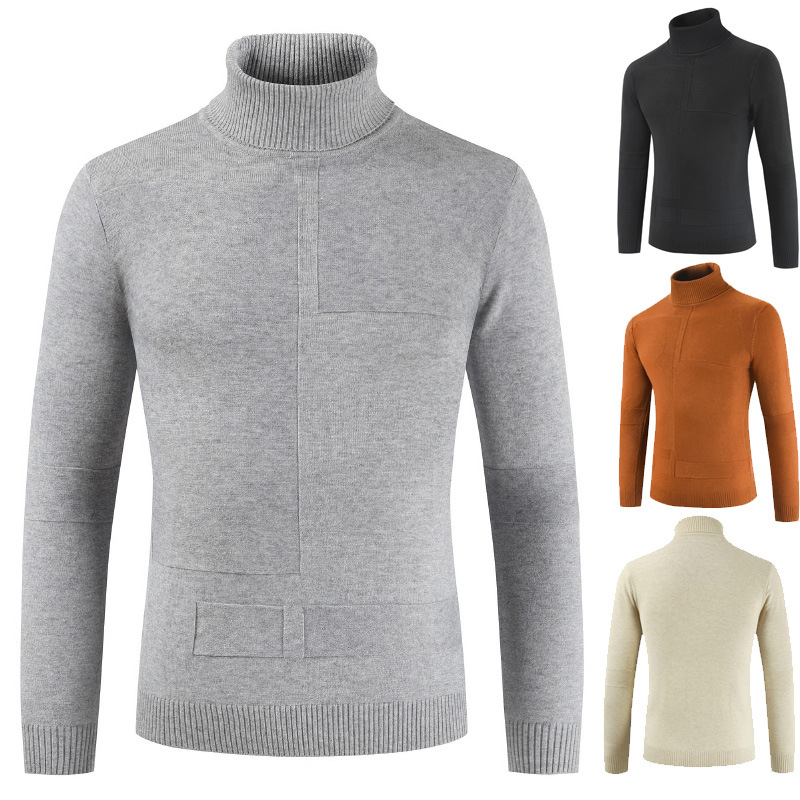 Woolen Sweater Men's High-collar Solid-color Korean Sweater Men's Lapel Long-sleeved Thin-sleeved Knitted Shirts Autumn