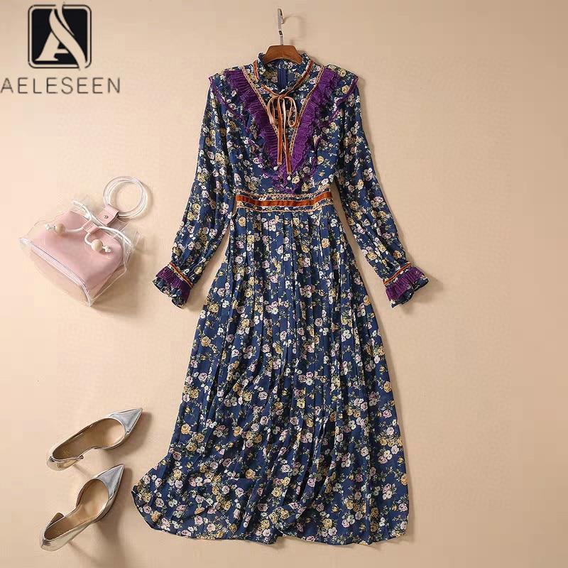 AELESEEN Bohemian Women Dress 2020 High Quality Runway Fashion Ruffles Floral Print Bow Lace Patchwork Long Elegant Dress