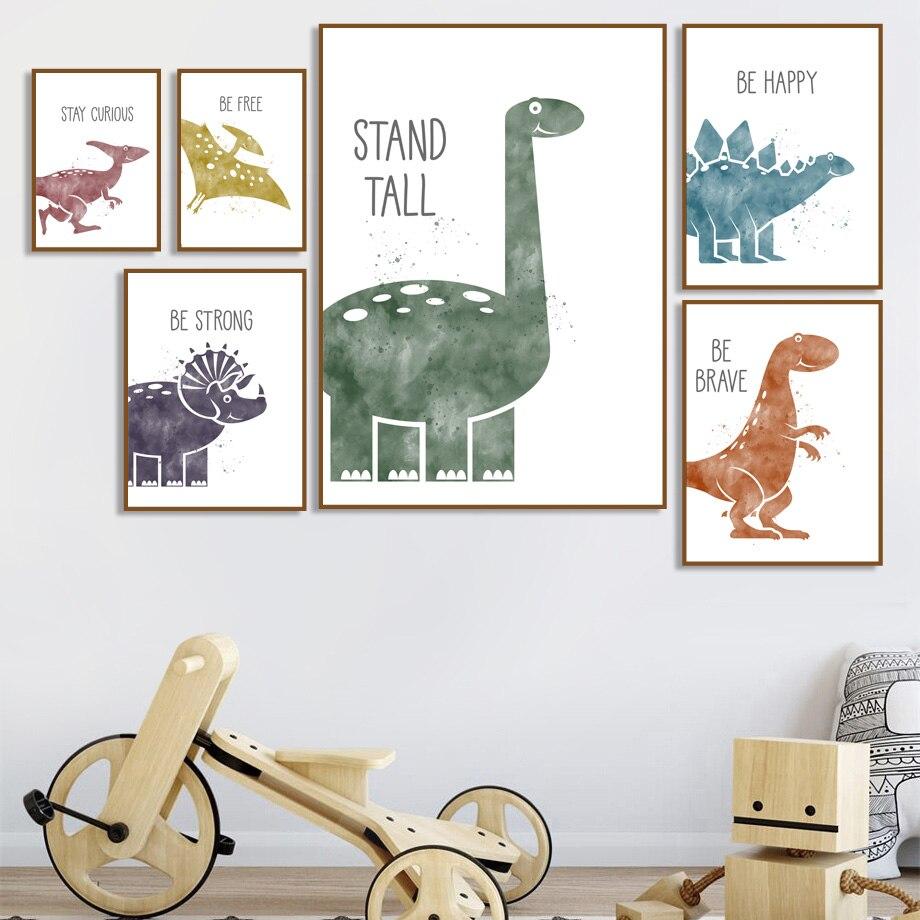 Triceratops Pterosaur karikatür dinozor duvar sanatı tuval yağlıboya İskandinav posterler ve baskılar duvar resimleri çocuk odası dekor için