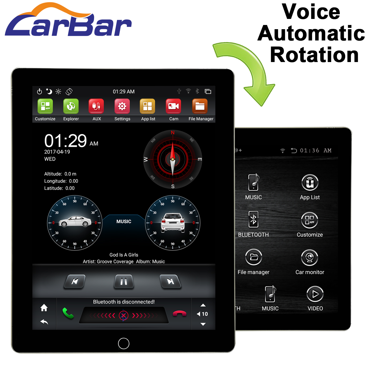 "Carbar 9.7"" Tesla Style Automatic Rotation IPS Screen 2 Din Universal Android Car DVD GPS Player Radio Car Stereo Voice Control"