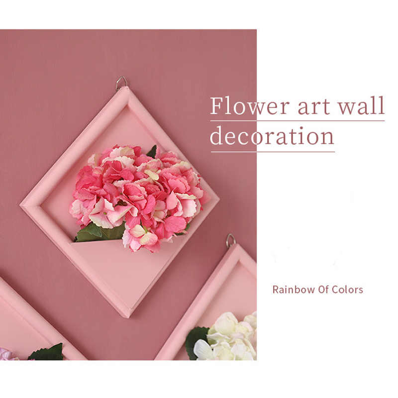 3D Artificial Flower Photo Frame Wood Stereo Fake Green Plants Decor Wall Hangings Wooden Decorations for Home Kid Room Office