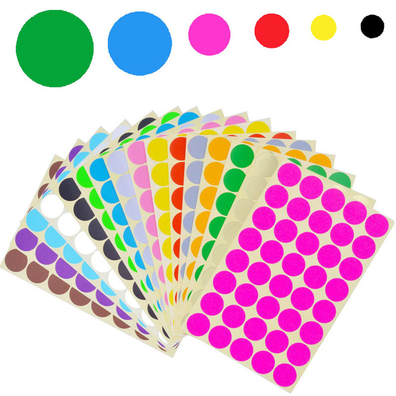 10 Colors 6mm 8mm 10mm 13mm 19mm 25mm Circles Round Code Stickers Self Adhesive Sticky Labels 70Pcs/Sheet