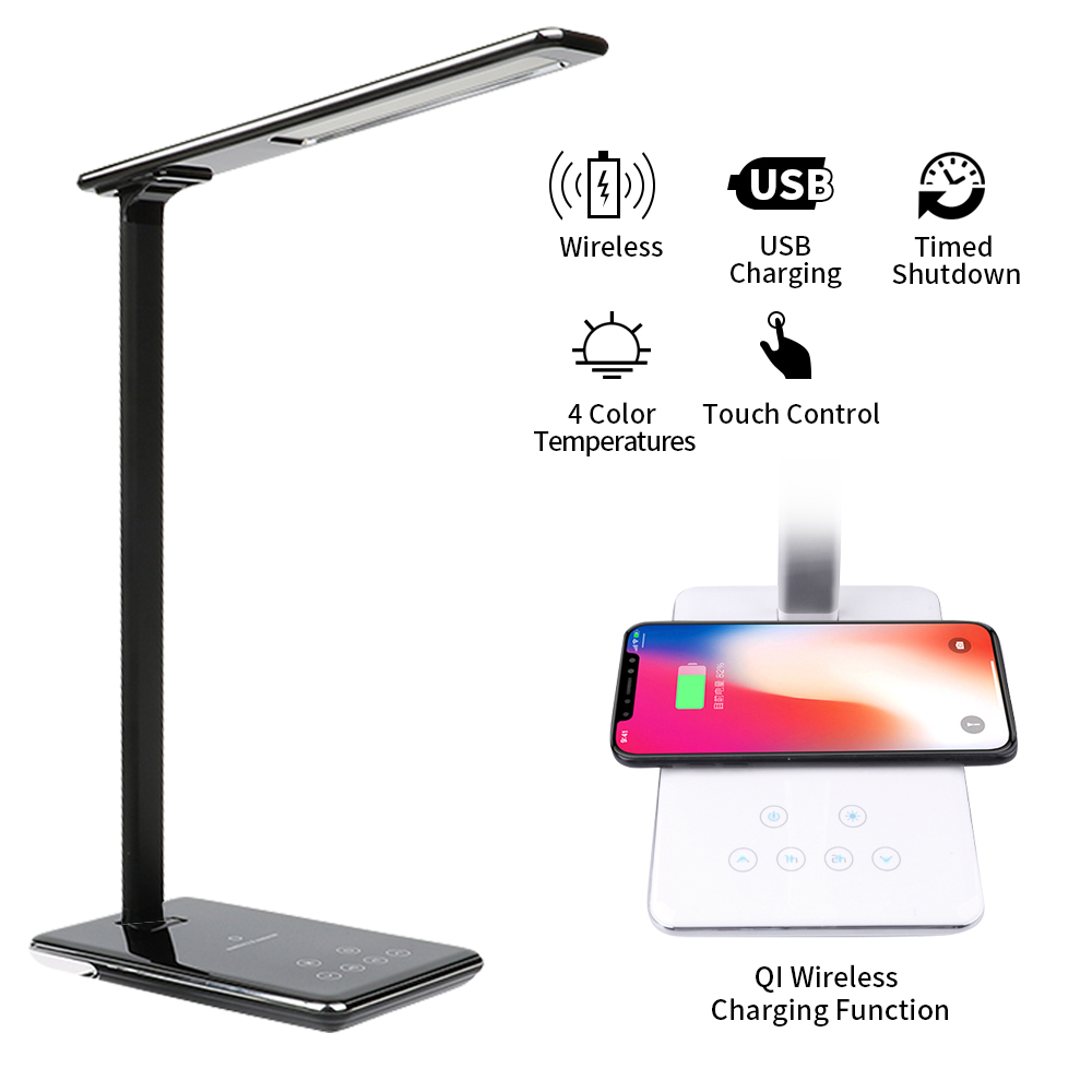 LED Table Desk Lamp 2 In 1 QI Wireless Charging Creative Eye Protection Multi-Function Reading Lighting For Mobile Phone Charge