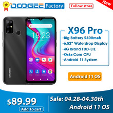 Doogee x96 pro smartphone 4gb 64gb octa núcleo android 11 celular 13mp quad câmera 5400mah