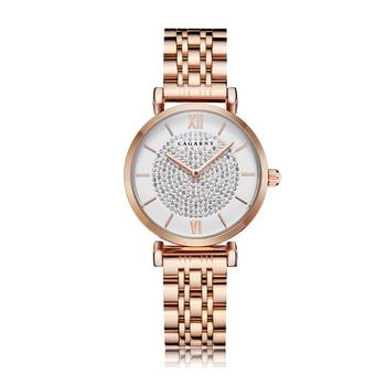 цена на Shinning Diamonds Women Watches Top Luxury Brand Cagarny Women's Quartz Watch Rose Gold Steel Bracelet Ladies Dress Wristwatch