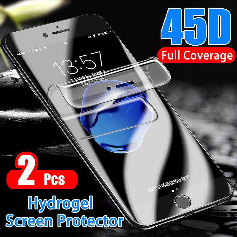 2 1Pcs Full Screen Protector Hydrogel Film For iPhone 7 6 8 6s Plus Soft Protective