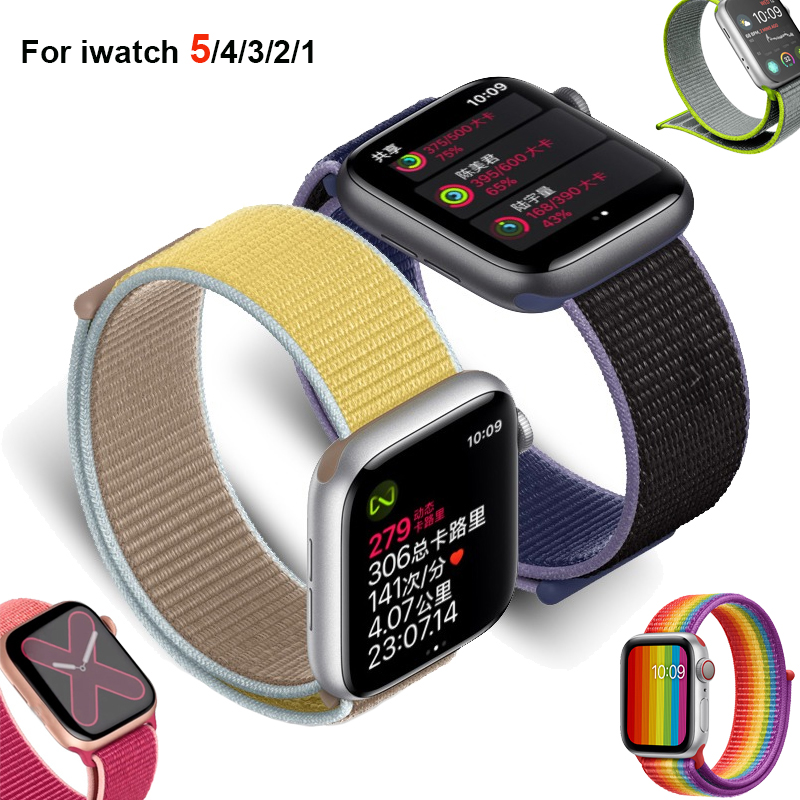 Nylon Sport Loop Band Strap For Apple Watch 5 4 42/44/38/40mm Bracelet Watchband For Iwatch 3/2/1 Correa Pulseira Sports Edition