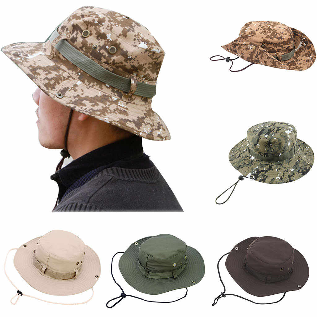 Men Military Camo Floral Boonie Bucket Hat Summer Cotton Fishing Hunting Sun Cap