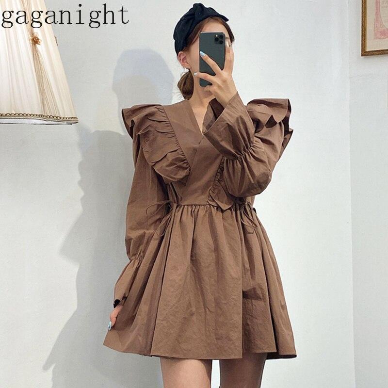 Женское короткое платье с оборками Gaganight, корейское платье с длинными рукавами и v-образным вырезом, летнее и весеннее платье