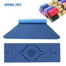 Esterilla de Yoga TPE y bolsa de doble capa, antideslizante, con línea de posición, para Fitness, gimnasia, Pilates, 1830x610x6mm