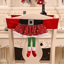 1 шт. Новогодние украшения с дедом морозом Клаусом эльфом красная шляпа чехол на стул для дома вечеринка, праздник, Рождество декор для обеденного стола FDH