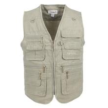 Fishing-Vest Jacket Waistcoat Men Sleeveless 10XL Male Outdoors with Blue Work-Vests