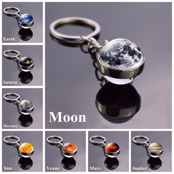 Solar System Planet Keyring Galaxy Nebula Space Keychain Moon Earth Sun Mars Art Picture Double Side Glass Ball Key Chain earth system history