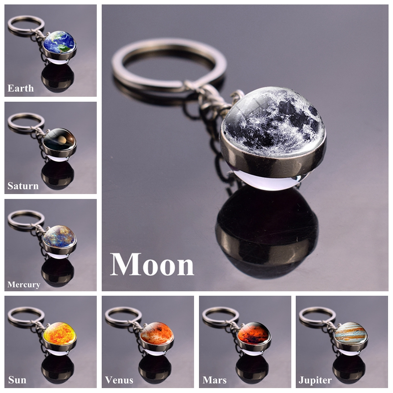 Solar System Planet Keyring Galaxy Nebula Space Keychain Moon Earth Sun Mars Art Picture Double Side Glass Ball Key Chain image