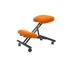 Banco do escritório ergonômico fixo, regulável em várias posições e com rodas acima assento estofado na cor do tecido de bali