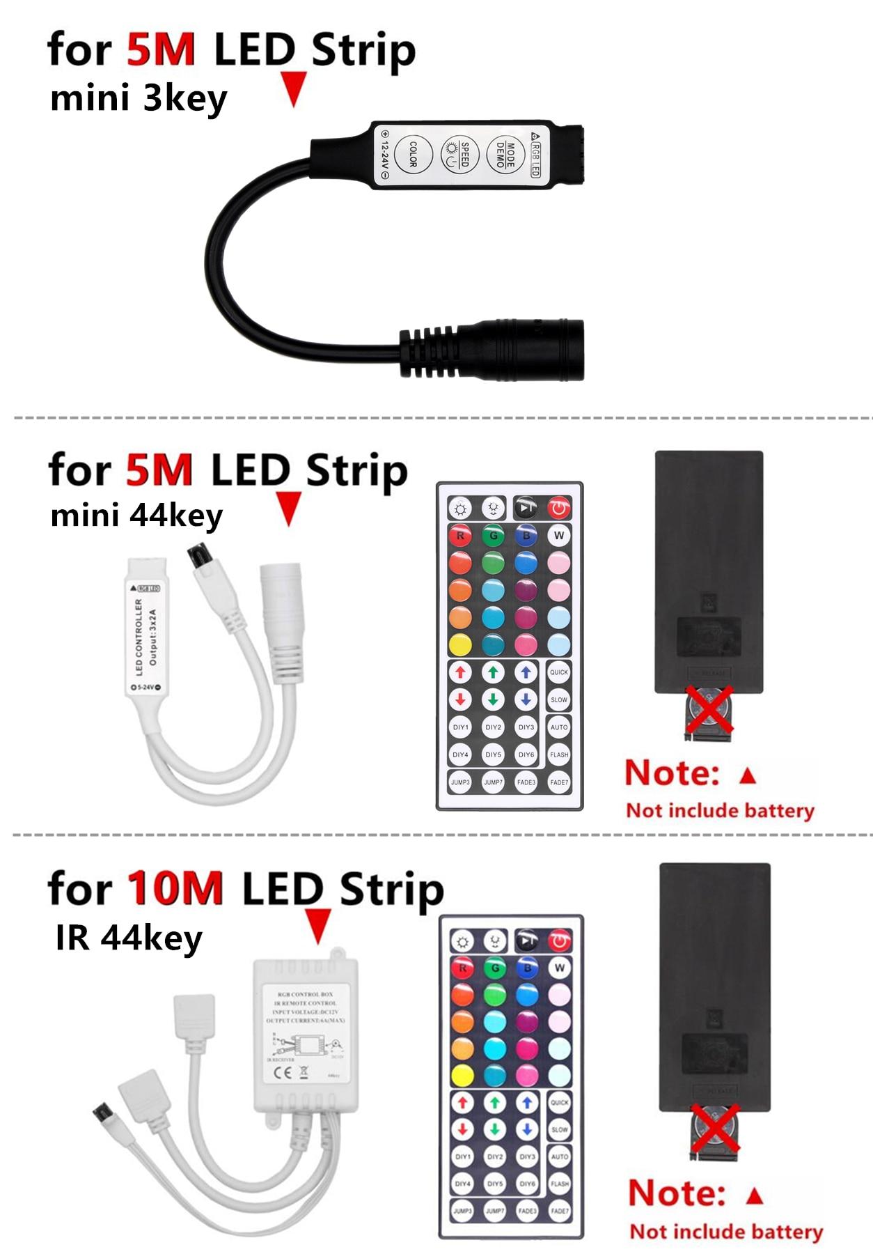 RGB LED Strip Light RGB 5050 SMD 2835 Flexible Ribbon fita led light strip RGB 5M RGB LED Strip Light RGB 5050 SMD 2835 Flexible Ribbon fita led light strip RGB 5M 10M Tape Diode DC 12V Remote Control Adapter