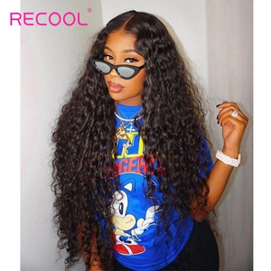 Water Wave Wig Lace Front Human Hair Wigs Pre Plucked Brazilian 360 Lace Frontal Wig 180 250 Density Curly Human Hair Wig Recool(China)