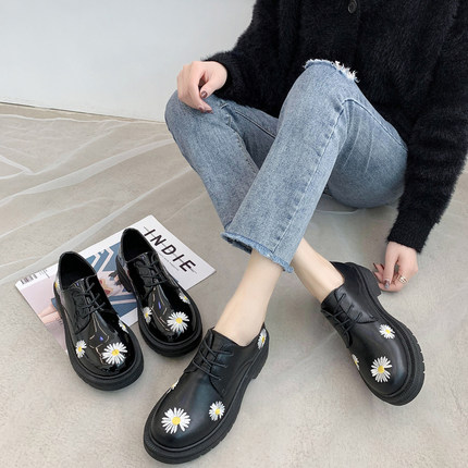 British Retro Small Daisy Platform Shoes 2020 New Round Head Lace Up Ins Tide College Style Wild Shoes