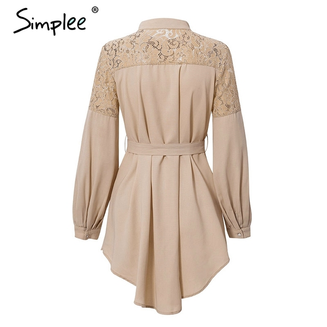 Simplee Elegant lace mesh embroidery women A-line dress Long sleeve button office ladies dresses Solid sashes summer shirt dress 3