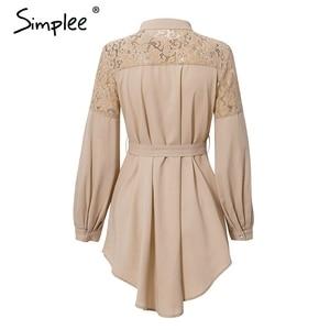 Image 4 - Летнее женское платье рубашка Simplee, элегантное однотонное офисное сетчатое платье трапециевидной формы с вышивкой и поясом, с длинными рукавами, с пуговицами