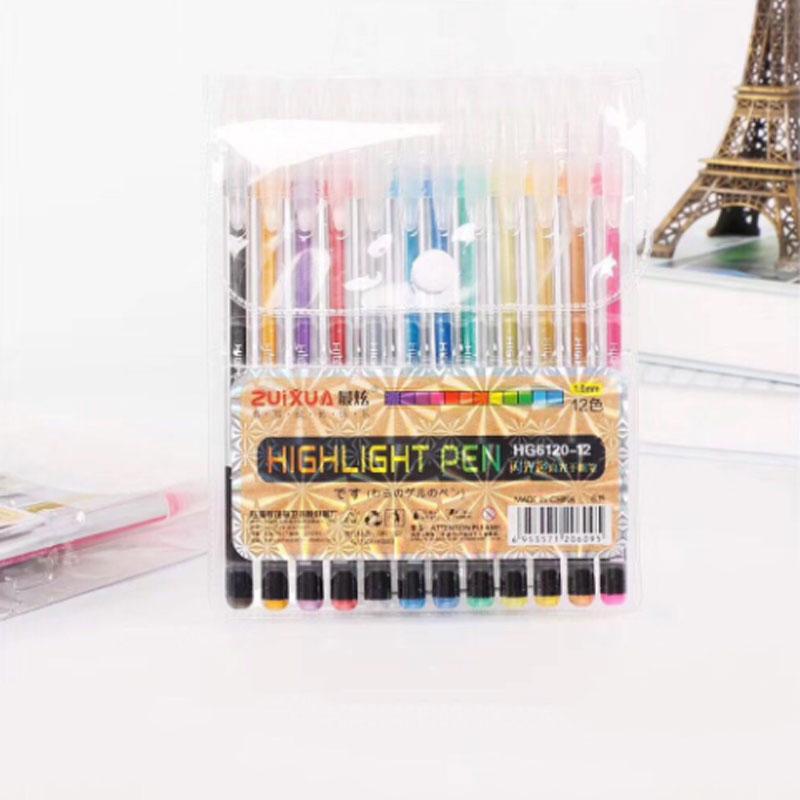 Гелевая ручка с блестками, 12 или 24 шт./компл., 12 цветов, 1 мм