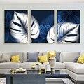 Абстрактный сине-белые завод плакаты с листьями принт Современный домашний декор стены искусства холст картины Nordic Декор в гостиную Куадро...