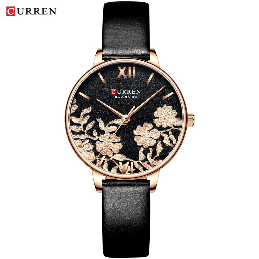 CURREN Watches 2020 Casual Leather Strap QuartzWristwatch Luxury Top Brand Gold Clock Watch Female Classy Simple Ladies Watch
