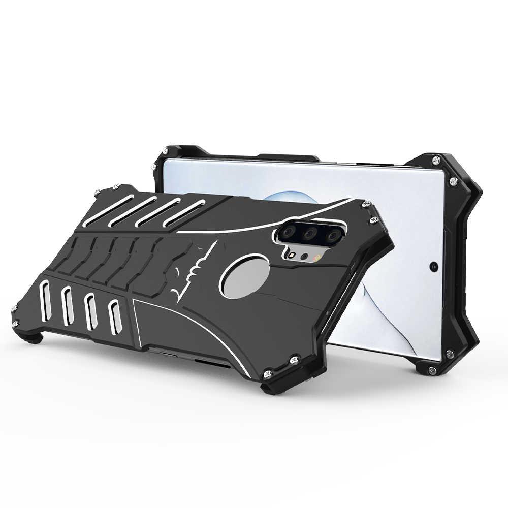 Aluminium Bumper Batman Armor Logam Case untuk Samsung Galaxy Note 10 Plus 9 8 S10 S10E S9 S8 S7 Edge ponsel Case Sekrup Fundas Cover