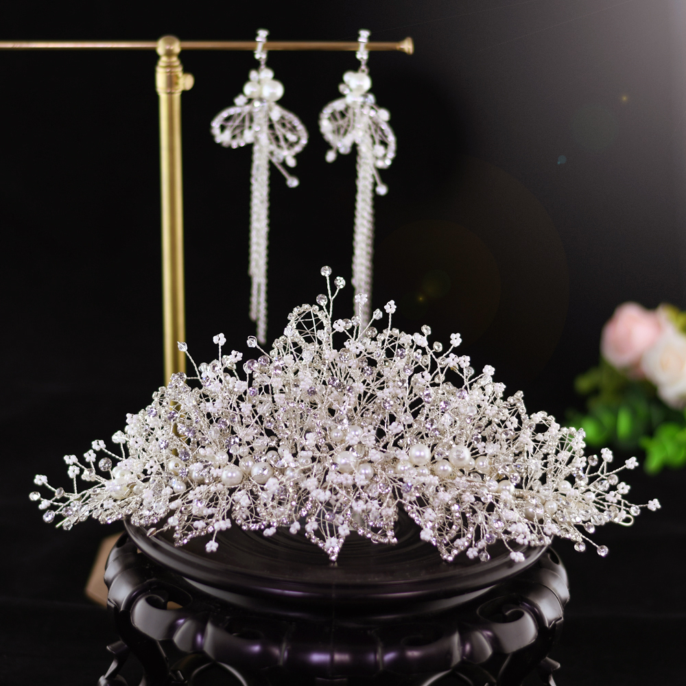 TRiXY H245 Western Wedding Fashion Headdress for Bride Rhinestone Tiara and Crowns Silver Bridal Hair Accessories Hair Jewelry