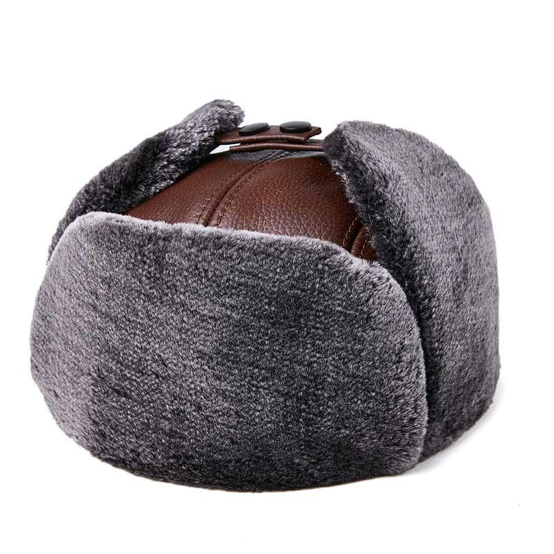 Мужская шапка Фибоначчи, зимняя, Воловья кожа, брендовая, качественная, натуральная, Кожаная шапка с мехом, Pom Ear, защита, шапки-бомберы, Русская Шапка-ушанка - Цвет: Коричневый