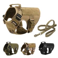 No Pull Tactical Dog uprząż dla średnich dużych dużych XXL odzież dla psów wygodna kamizelka wojskowa usługi szkolenia psów akcesoria tanie tanio CN (pochodzenie) Chłopcy Wiosna summer AUTUMN Winter NYLON Tactical dog harness set with Free Dog Leash Harness and Leash