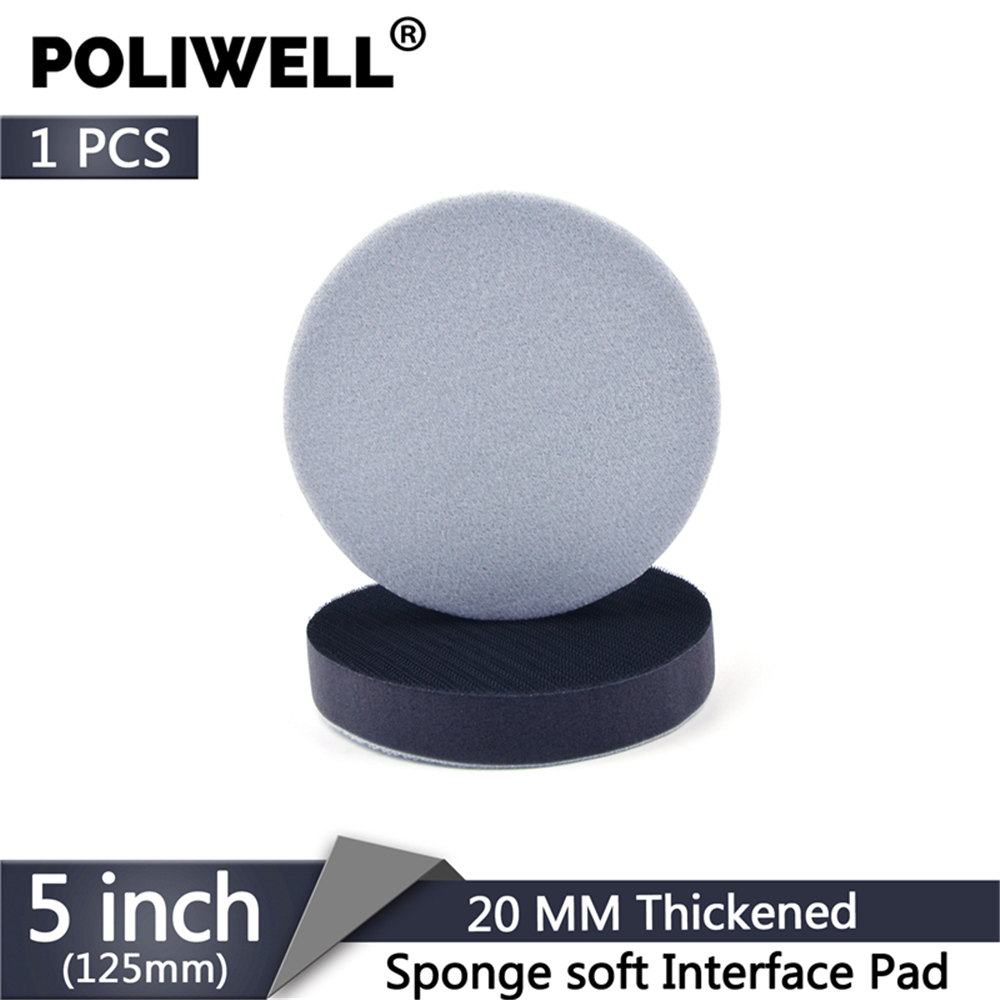 POLIWELL 5 Inch 125 Mm Thickened Soft Sponge Interface Pad For Hook And Loop Sanding Disc Backing Buffering Pads (20MM Thick)