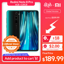 "Get €20 Off by Code ""ALISINGLESDAY2019"" Versión Global Xiaomi Redmi Note 8 Pro 6GB 128GB teléfono móvil 64MP Quad Cámara MTK Hola G90T Octa Core Smartphone 4500mAh NFC(China)"