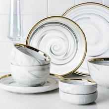 Скандинавские мраморные керамические тарелки фарфоровый набор