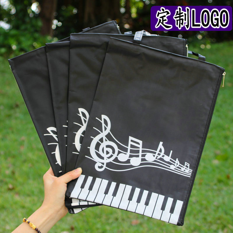 A4 Black Music Piano Book Handbag Waterproof Hand Bag Carry On Eco-Friendly Canvas Bag Custom LOGO File Holder School Stationery