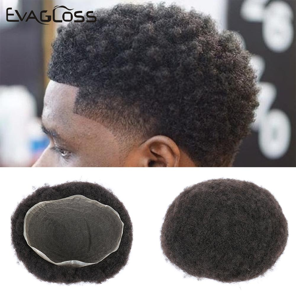 EVAGLOSS Afro Full Swiss Lace Natural Human Hair Men's Wig Toupee Hair For Black People 8*10