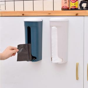 Wallmounted Plastic Waste Bag Storage Box Container Dustproof Garbage Bag Storage Case Hanging Plastic Storing Rack With Cover