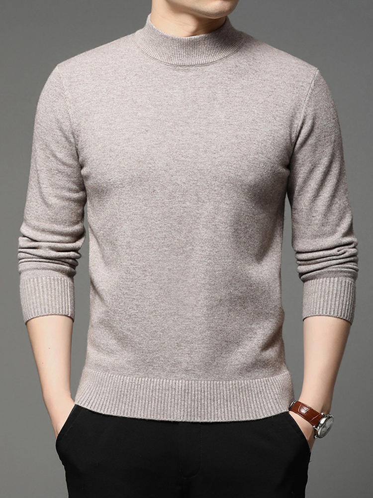 Shirt Sweater Pullover Men Turtleneck Warm Male Winter Solid-Color Fashion Brand Bottoming