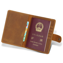 Vintage Crazy Horse Leather Passport Holders Genuine Covers Credit Card Holder Travel Document Cover