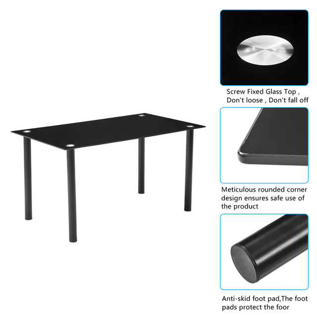 Dining Table Set Simple Round Tube Table Leg Table + 6pcs Elegant Stripping Texture High Backrest Dining Chairs Black[US-Stock] 4